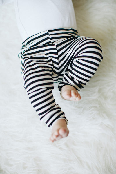 Bamboo Jersey Leggings in Black & White Stripe - Alexandra Rose Handmade