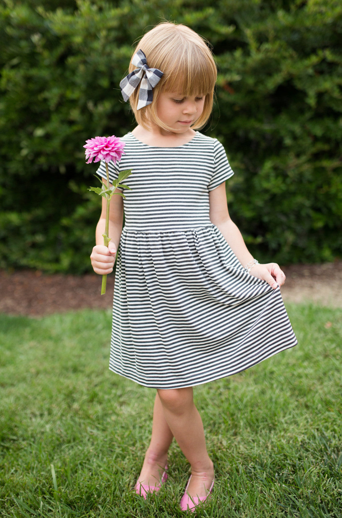 Essential Cap-Sleeve Dress in Charcoal Stripe - Alexandra Rose Handmade