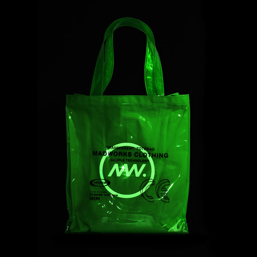 TTB-001: GREEN TRANSPARENT TOTE BAG