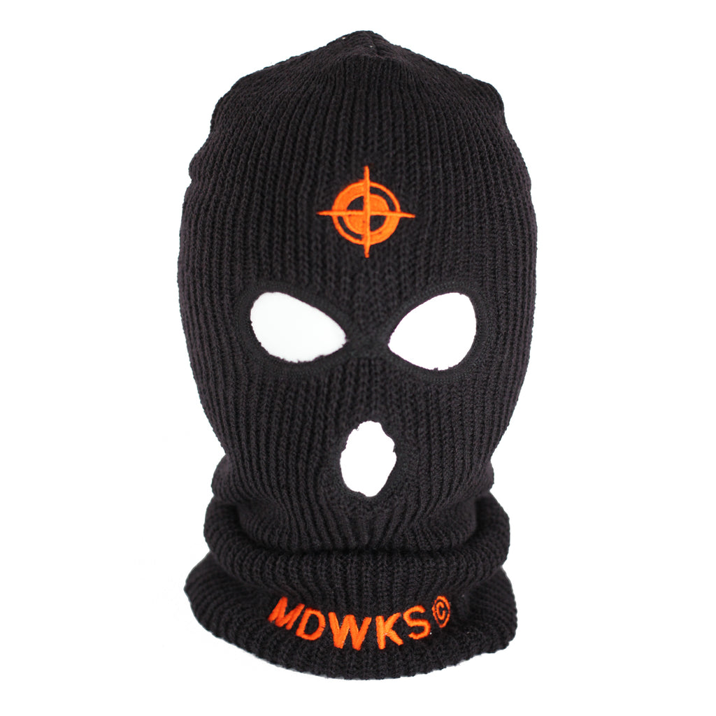 MAK-001: MAD EMBROIDERED SKI MASK (ORANGE)