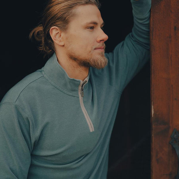 The Normal Brand - Puremeso Quarter Zip Pullover - Teal