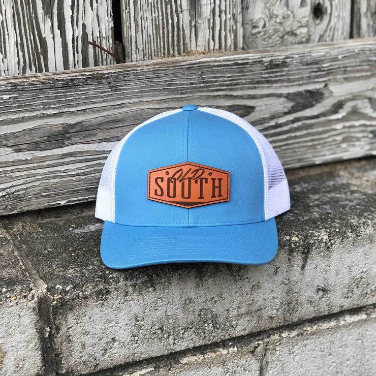 Old South Apparel - Old South Leather Patch Trucker Hat - Carolina Blue/White