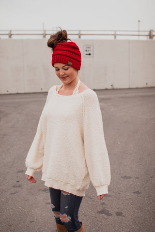 Knitted Messy Bun Beanie Red