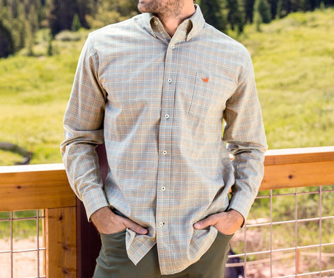 Southern Marsh - Davidson Washed Check - Washed Slate & Burnt Orange