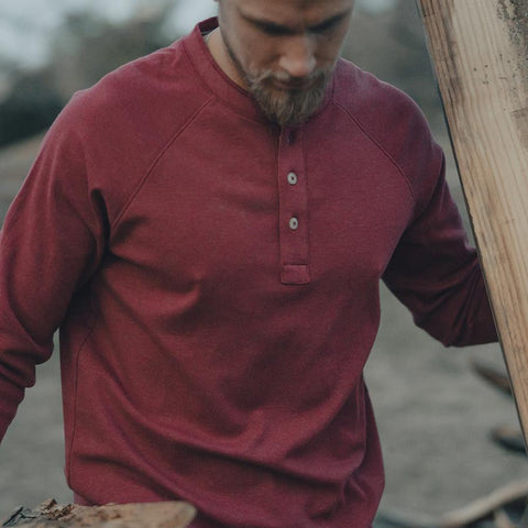 The Normal Brand - Puremeso Raglan Henley - Red