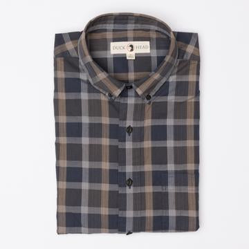 Duck Head - Astor Herringbone Plaid Button Down - Dark Blue