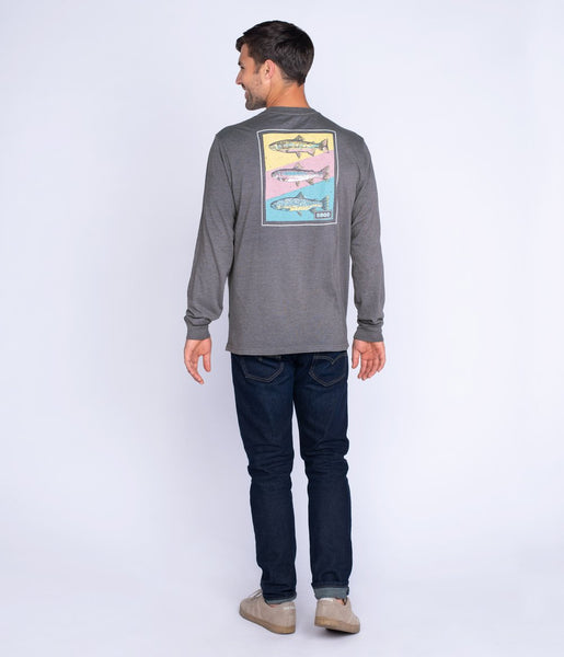 Southern Shirt - Tricolor Trout LS Tee - Pewter