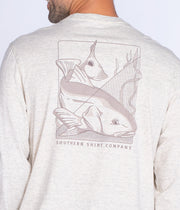 Southern Shirt - Blockprint Redfish LS Tee - Oatmeal