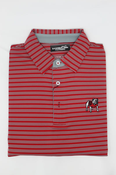 Southern Charm - UGA Herschel Stripe Performance Polo - Red/Silver