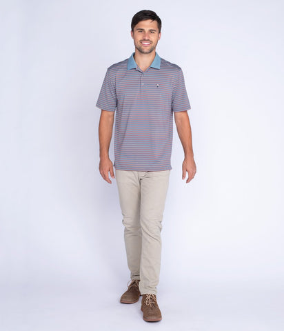Southern Shirt - Carson Stripe Polo - Wild Ginger