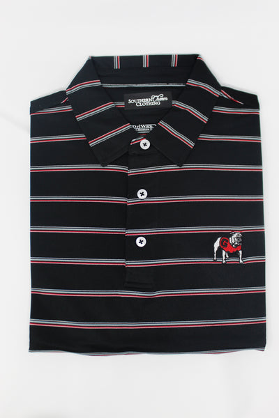 Southern Charm - UGA Sanford Performance Polo - Black/Silver/Red