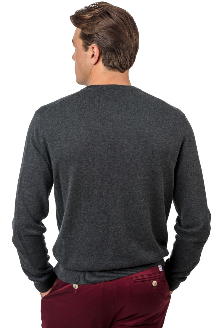 Southern Tide - Pawleys V-Neck Sweater - Charcoal Grey