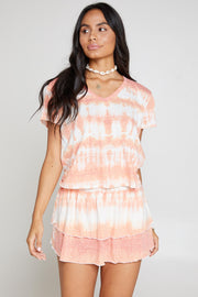 After Glow Tie Dye Smocked Mini Skirt