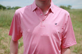 Southern Charm - Grady Stripe Performance Polo - Rose