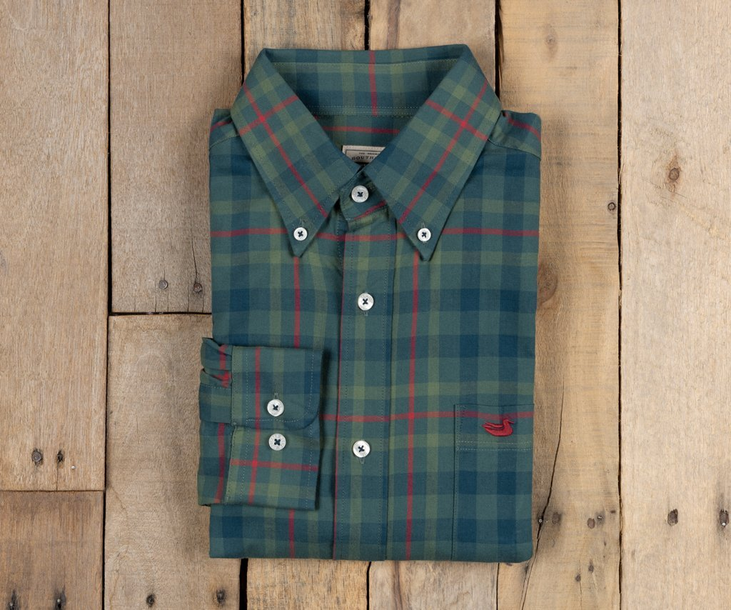 Southern Marsh - Boundary Washed Plaid - Dark Green & Red