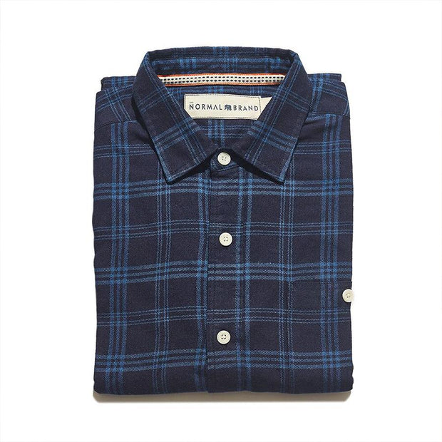 The Normal Brand - Indigo Blue on Blue Button Up Shirt
