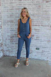 Do The Talking Button Front Jumpsuit