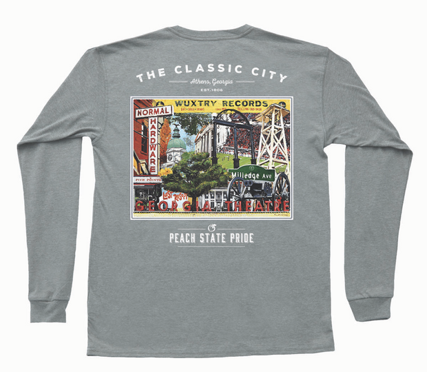 Peach State Pride - Classic City Establishments LS Tee - Grey