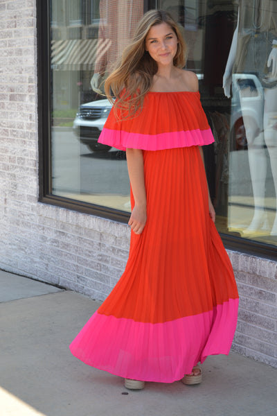 Havana Nights Off The Shoulder Pleated Maxi