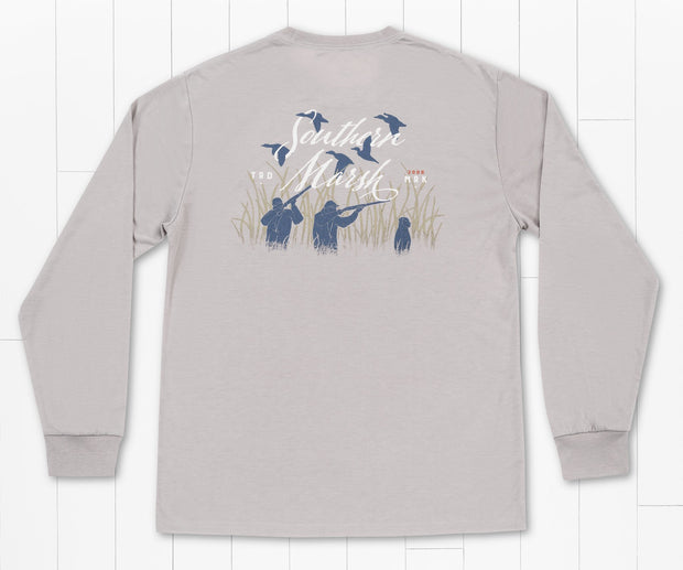 Southern Marsh - Morning Flyover Fieldtec Comfort LS Tee - Light Gray