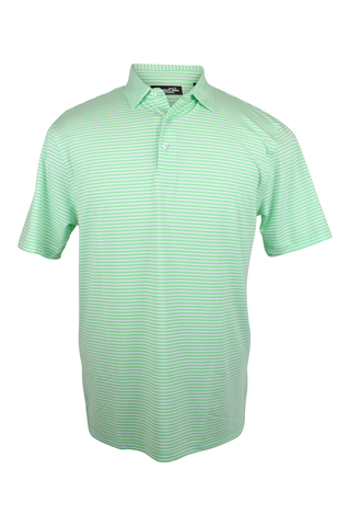 Southern Charm - Cove Stripe Performance Polo - Silver/Pink