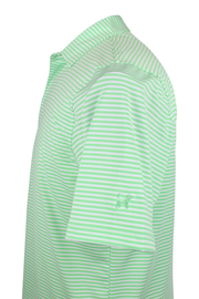 Southern Charm - Cove Stripe Performance Polo - Lime/White
