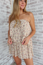 Long Way Around Floral Strapless Top