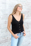 Knit Button Down Tank V-Neck