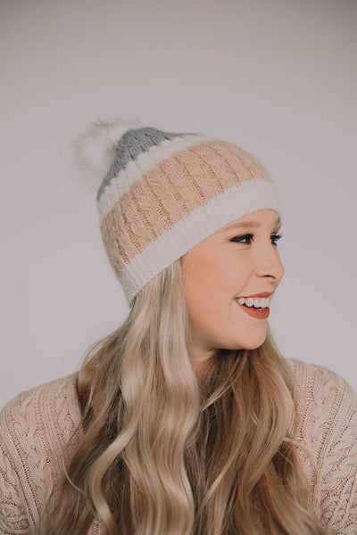 David and Young Blush/Grey Faux Fur Beanie