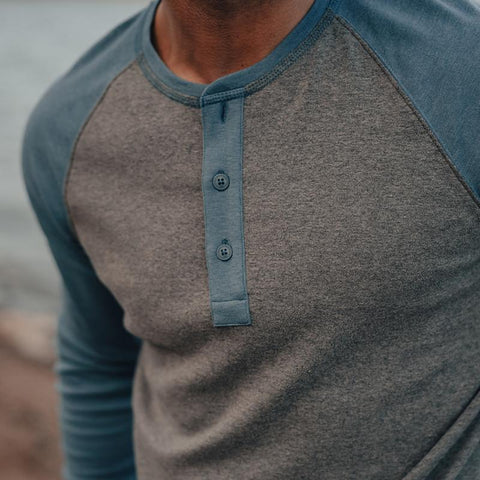 The Normal Brand - Retro Puremeso Henley - Grey/Blue