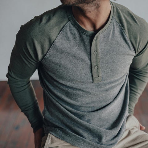 The Normal Brand - Retro Puremeso Henley - Grey/Green