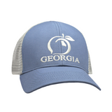Peach State Pride- Georgia Mesh Back Trucker Hat- Gray & Lake Blue