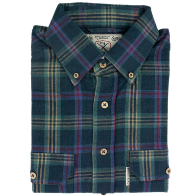 Over Under- The Crosscut Flannel Shirt- Slough Blue