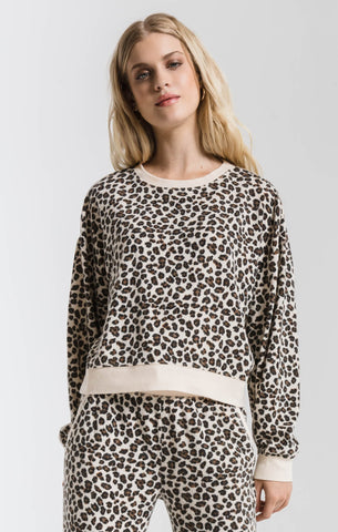 Z Supply The Multi Leopard Pullover- Natural Combo