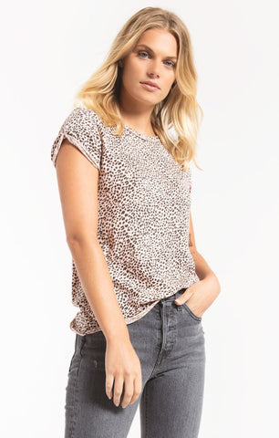 Z Supply The Mini Leopard Short Sleeve Tee - Pale Blush