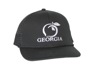 Peach State Pride - Georgia Trucker Hat  - Solid Black