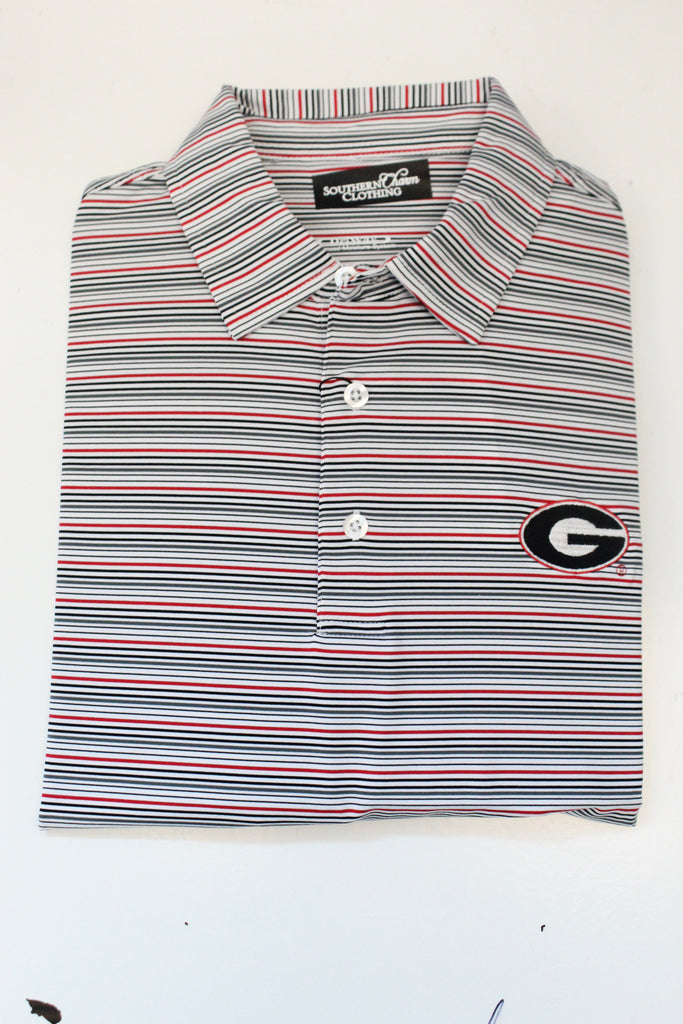 Southern Charm - UGA Munson Performance Polo - Red/White/Black