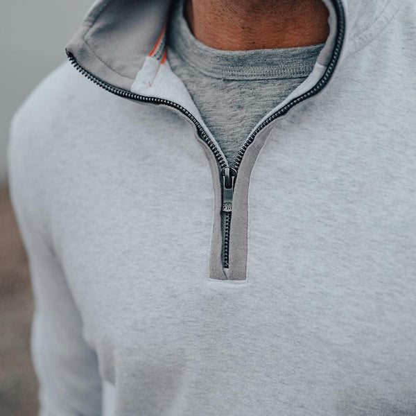 The Normal Brand - Puremeso Quarter Zip Pullover - Stone