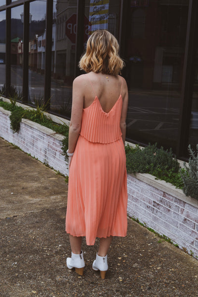 Sweet Peach Pleated Dress