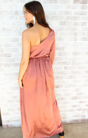 Where You Lead One Shoulder Silky Dress