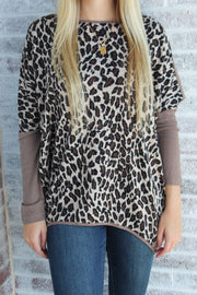 What You Wanted Animal Oversized Knit Top