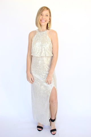 Shimmer On Over Sequin Maxi Dress