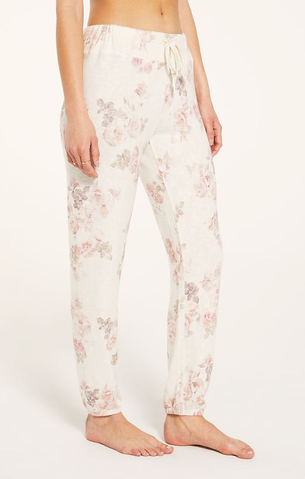 Z Supply Ava Floral Jogger - Bone