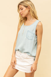 Be There High Low Denim Tank