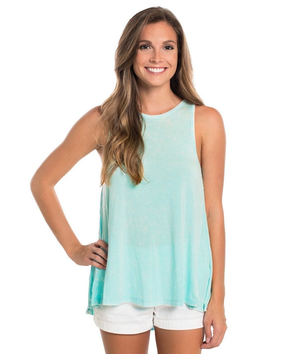 Southern Shirt - Salt Washed Flowy Tank - Aqua Splash