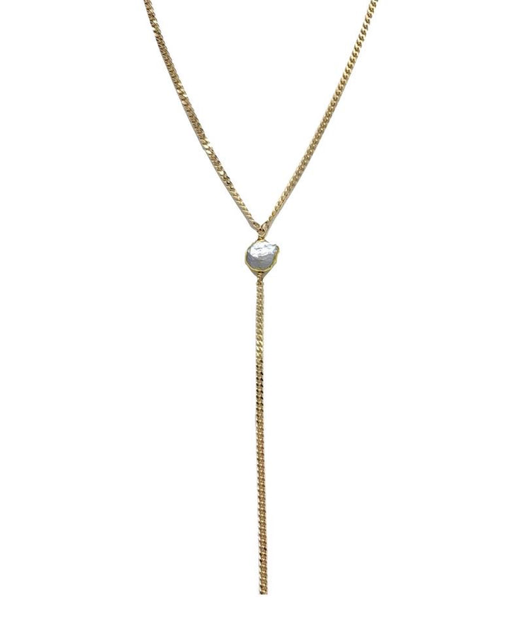 Sea Calling Pearl Lariat Necklace