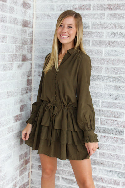 Tiered Ruffle Drawstring Dress