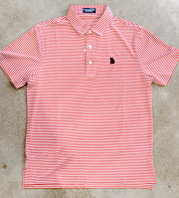 Southern Charm - GA State Performance Polo - Red/White