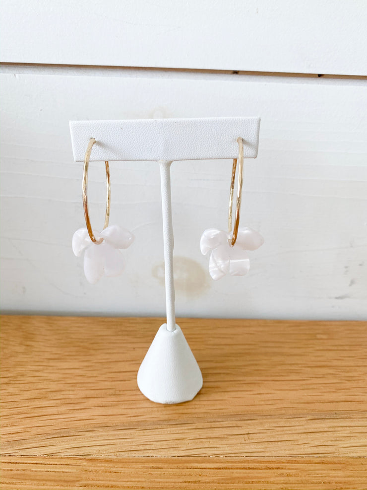 Acrylic Leaf Hoop Earrings White