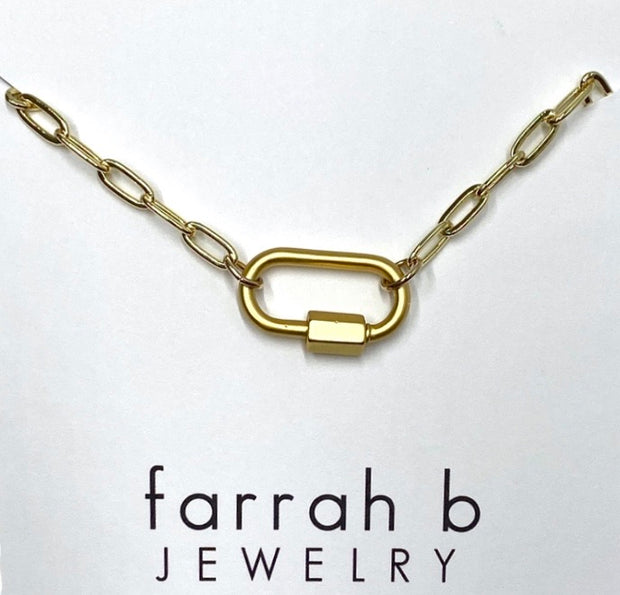 Clingy Carabiner Necklace Matte Gold